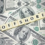 Word Offshore on American Dollar Money